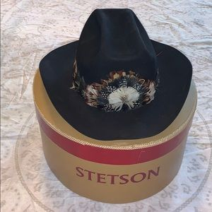 Vintage Stetson Royal Feather Black Cowboy Hat